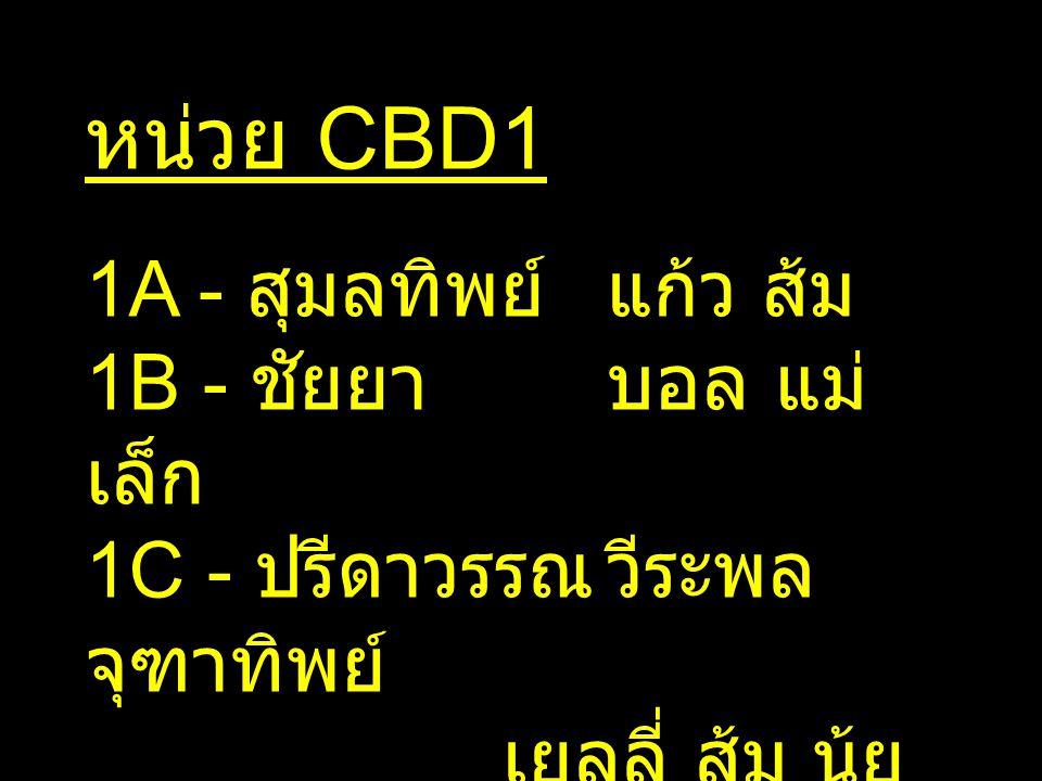 หน่วย CBD1 1A - สุมลทิพย์แก้ว ส้ม 1B - ชัยยาบอล แม่ เล็ก 1C - ปรีดาวรรณวีระพล จุฑาทิพย์ เยลลี่ ส้ม นุ้ย ทิพ จู