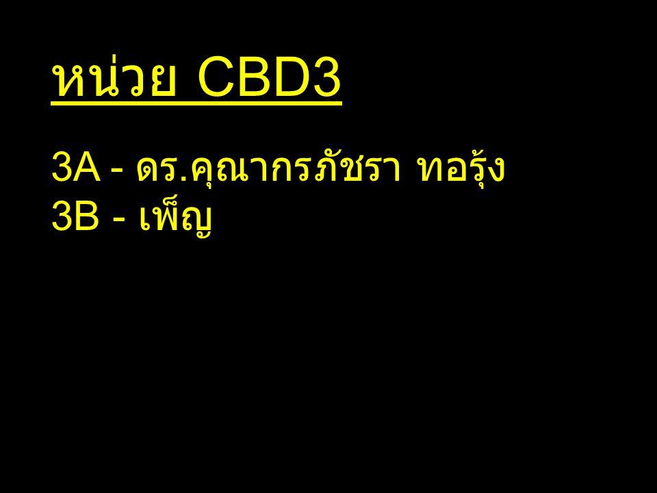 หน่วย CBD3 3A - ดร. คุณากรภัชรา ทอรุ้ง 3B - เพ็ญ