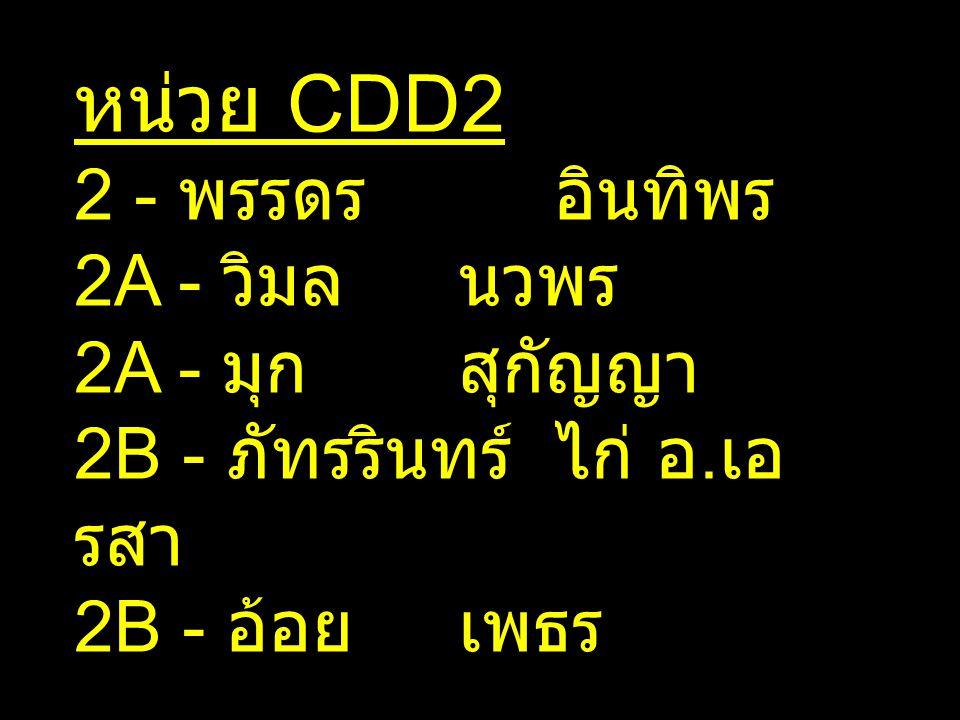 หน่วย CDD2 2 - พรรดรอินทิพร 2A - วิมลนวพร 2A - มุกสุกัญญา 2B - ภัทรรินทร์ไก่ อ. เอ รสา 2B - อ้อยเพธร
