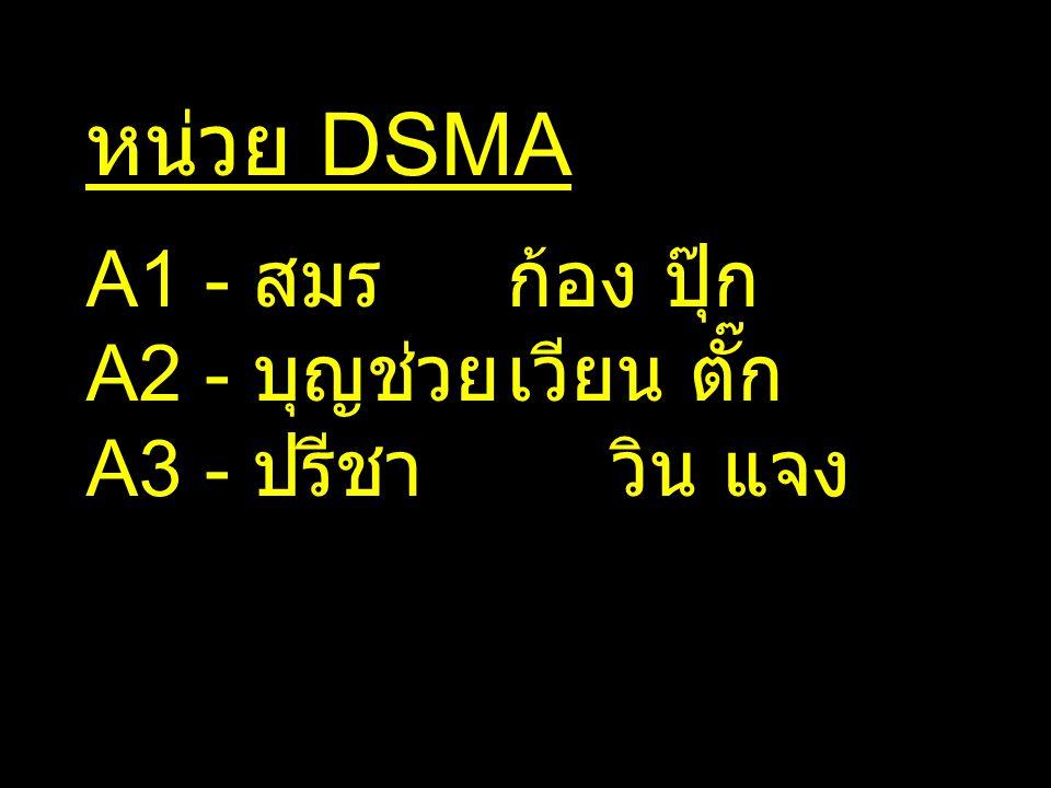 หน่วย DSMA A1 - สมรก้อง ปุ๊ก A2 - บุญช่วยเวียน ตั๊ก A3 - ปรีชาวิน แจง