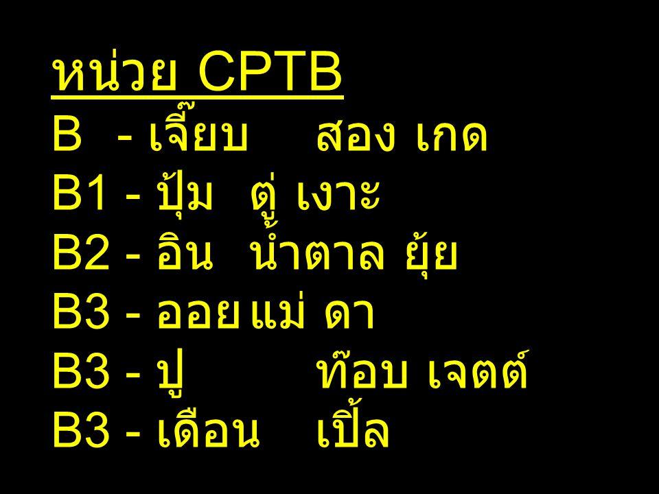 หน่วย CPTB B - เจี๊ยบสอง เกด B1 - ปุ้มตู่ เงาะ B2 - อินน้ำตาล ยุ้ย B3 - ออยแม่ ดา B3 - ปูท๊อบ เจตต์ B3 - เดือนเปิ้ล