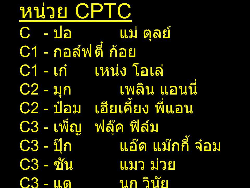 หน่วย CPTC C - ปอแม่ ตุลย์ C1 - กอล์ฟตี๋ ก้อย C1 - เก๋เหน่ง โอเล่ C2 - มุกเพลิน แอนนี่ C2 - ป๋อมเฮียเคี้ยง พี่แอน C3 - เพ็ญฟลุ๊ค ฟิล์ม C3 - ปุ๊กแอ๊ด แ