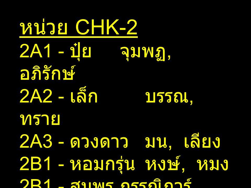 หน่วย CHK-2 2A1 - ปุ๋ยจุมพฏ, อภิรักษ์ 2A2 - เล็กบรรณ, ทราย 2A3 - ดวงดาวมน, เลียง 2B1 - หอมกรุ่นหงษ์, หมง 2B1 - สมพรกรรณิการ์ 2B2 - มารีย์แก้ว, ก้อย