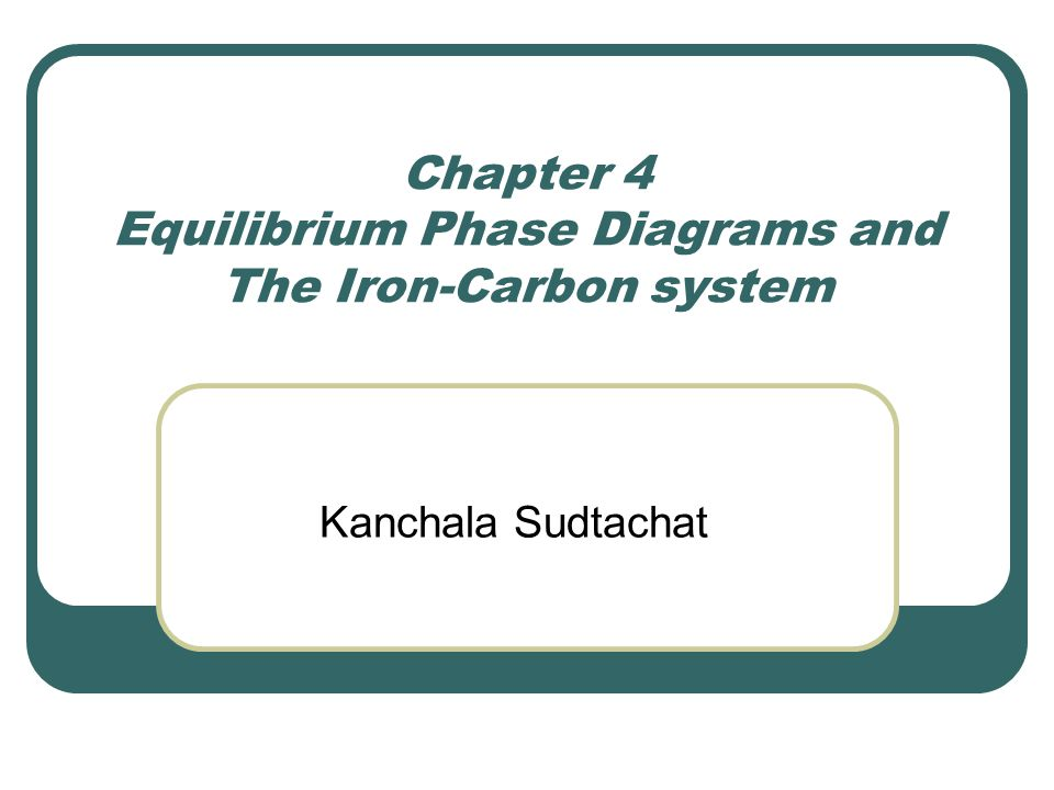 Chapter 4 Equilibrium Phase Diagrams and The Iron-Carbon system Kanchala Sudtachat