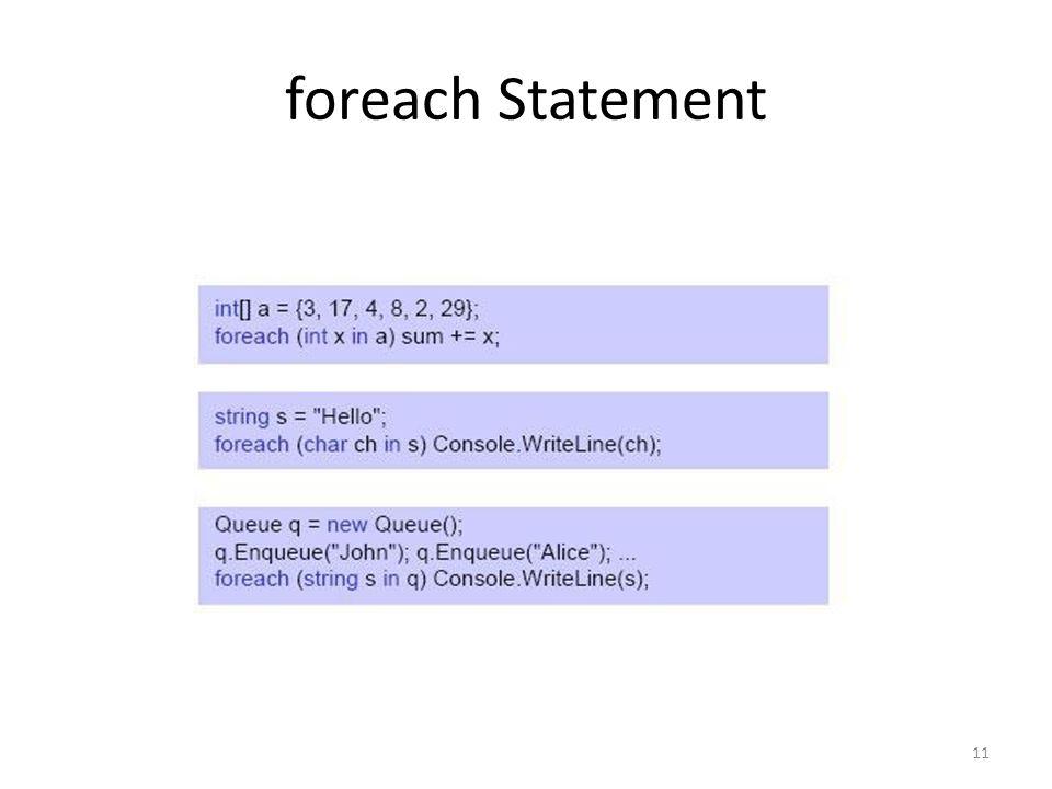 foreach Statement 11