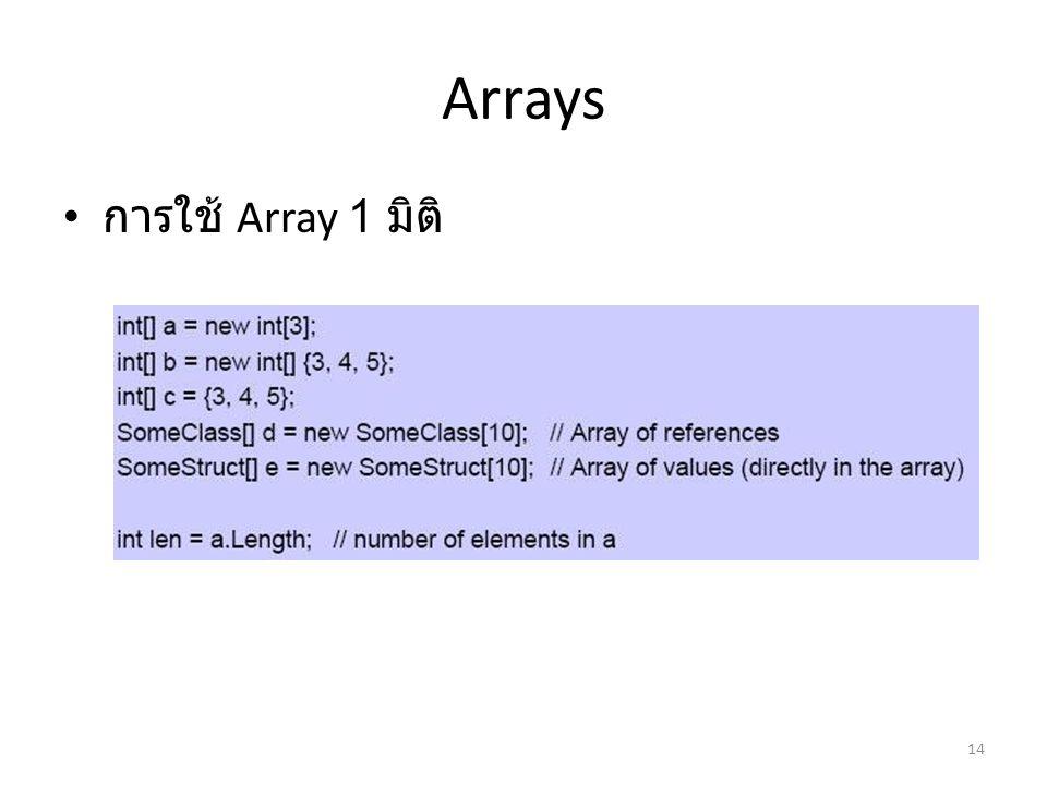 Arrays • การใช้ Array 1 มิติ 14