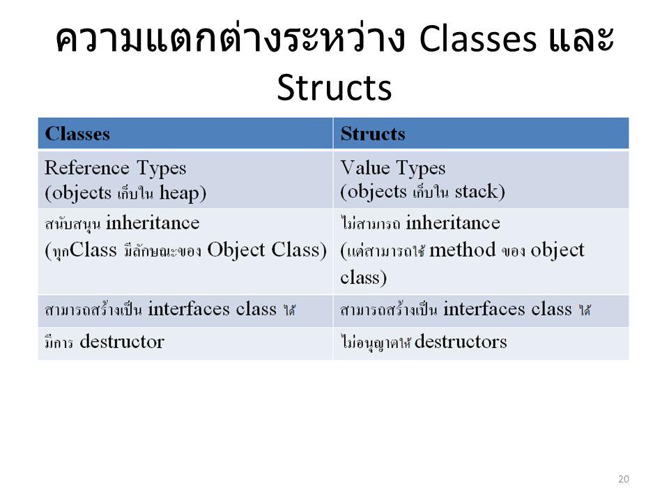 ความแตกต่างระหว่าง Classes และ Structs 20