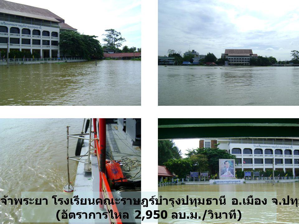 แม่น้ำเจ้าพระยา โรงเรียนคณะราษฎร์บำรุงปทุมธานี อ. เมือง จ. ปทุมธานี ( อัตราการไหล 2,950 ลบ. ม./ วินาที )