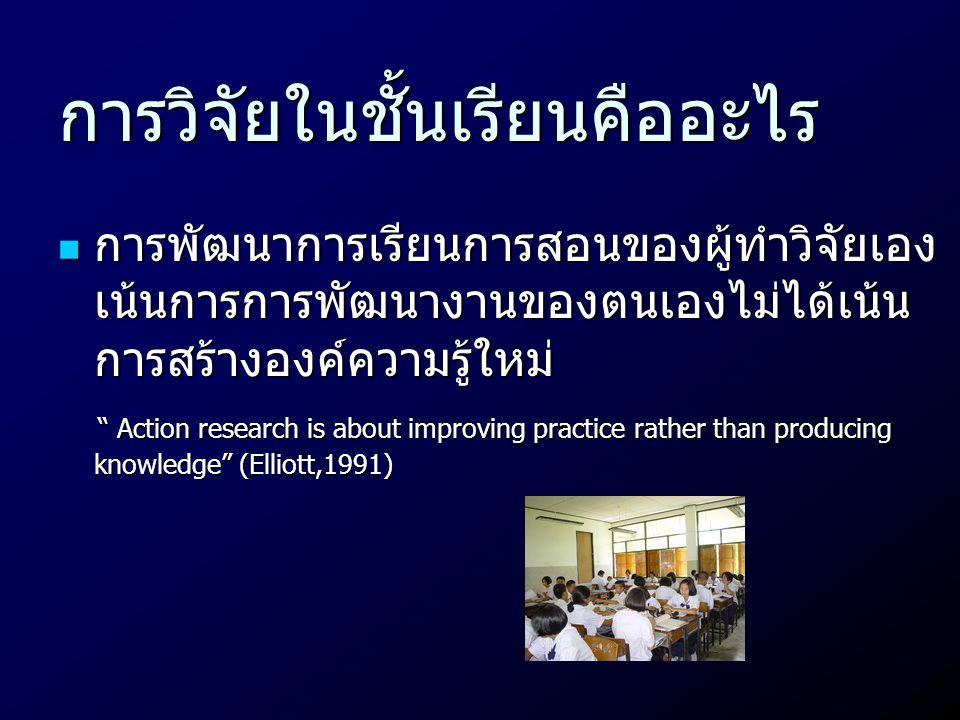 """การวิจัยในชั้นเรียนคืออะไร  การพัฒนาการเรียนการสอนของผู้ทำวิจัยเอง เน้นการการพัฒนางานของตนเองไม่ได้เน้น การสร้างองค์ความรู้ใหม่ """" Action research is"""