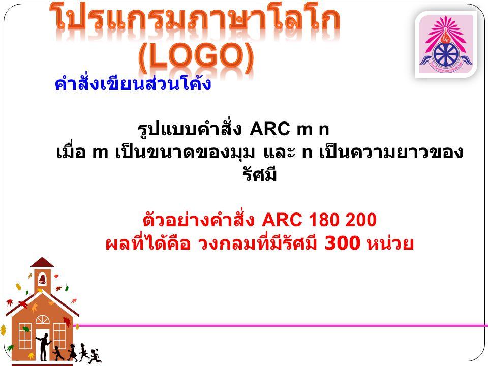 คำสั่งเขียนส่วนโค้ง รูปแบบคำสั่ง ARC m n เมื่อ m เป็นขนาดของมุม และ n เป็นความยาวของ รัศมี ตัวอย่างคำสั่ง ARC 180 200 ผลที่ได้คือ วงกลมที่มีรัศมี 300