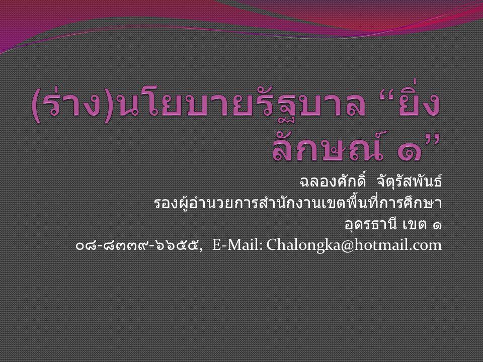 ฉลองศักดิ์ จัตุรัสพันธ์ รองผู้อำนวยการสำนักงานเขตพื้นที่การศึกษา อุดรธานี เขต ๑ ๐๘ - ๘๓๓๙ - ๖๖๕๕, E-Mail: Chalongka@hotmail.com