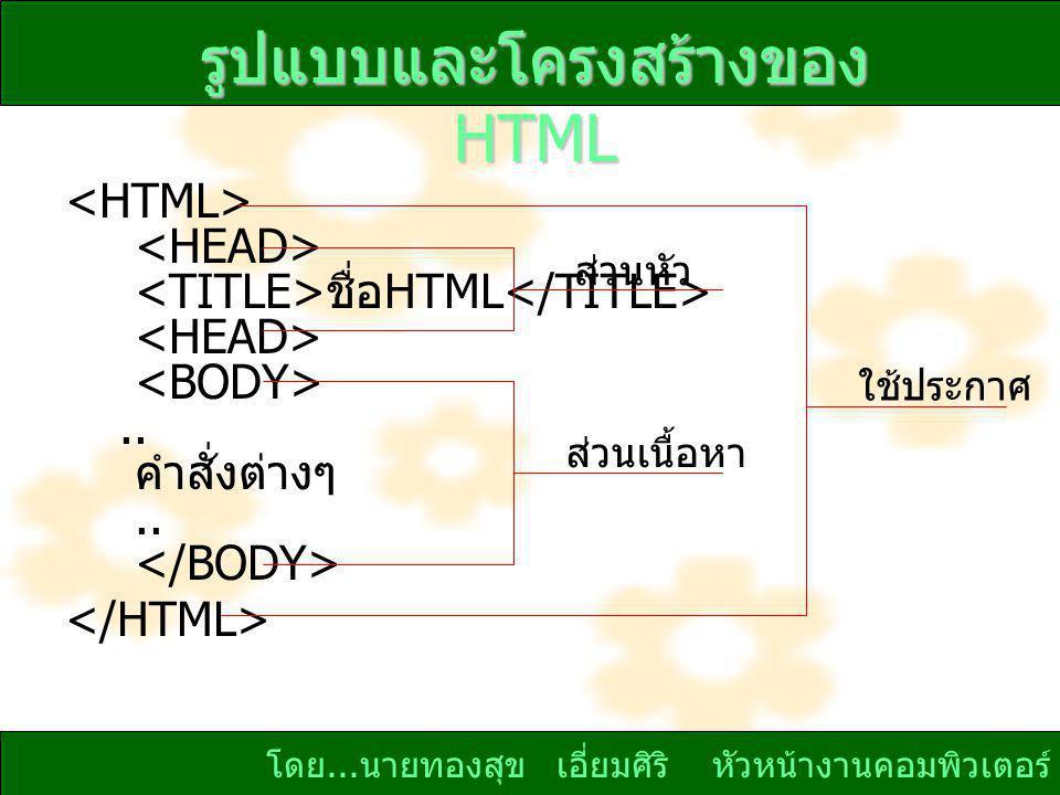 โดย...นายทองสุข เอี่ยมศิริ หัวหน้างานคอมพิวเตอร์ รูปแบบและโครงสร้างของ HTML ชื่อ HTML..