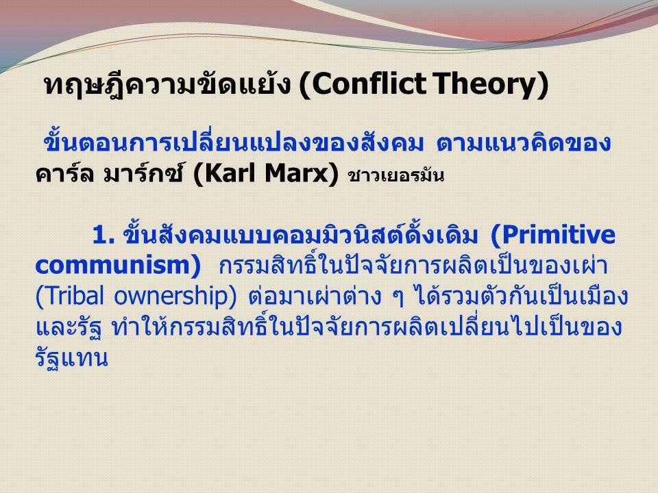 ทฤษฎีความขัดแย้ง (Conflict Theory) ขั้นตอนการเปลี่ยนแปลงของสังคม ตามแนวคิดของ คาร์ล มาร์กซ์ (Karl Marx) ชาวเยอรมัน 1.