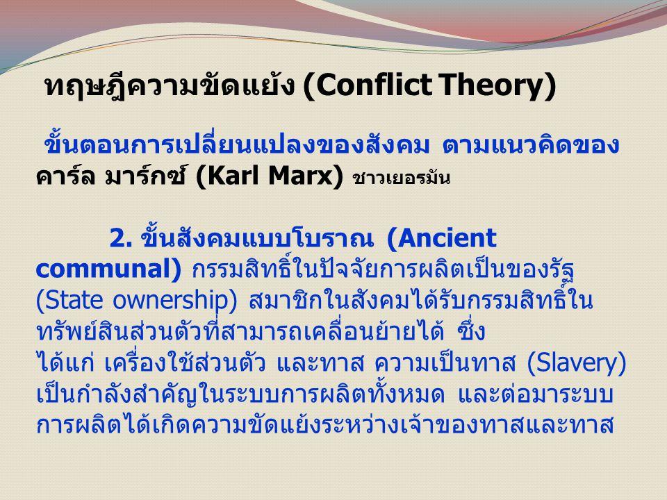 ทฤษฎีความขัดแย้ง (Conflict Theory) ขั้นตอนการเปลี่ยนแปลงของสังคม ตามแนวคิดของ คาร์ล มาร์กซ์ (Karl Marx) ชาวเยอรมัน 2.