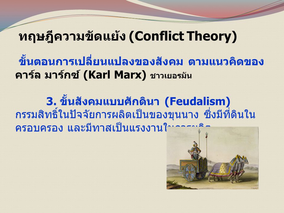 ทฤษฎีความขัดแย้ง (Conflict Theory) ขั้นตอนการเปลี่ยนแปลงของสังคม ตามแนวคิดของ คาร์ล มาร์กซ์ (Karl Marx) ชาวเยอรมัน 3.