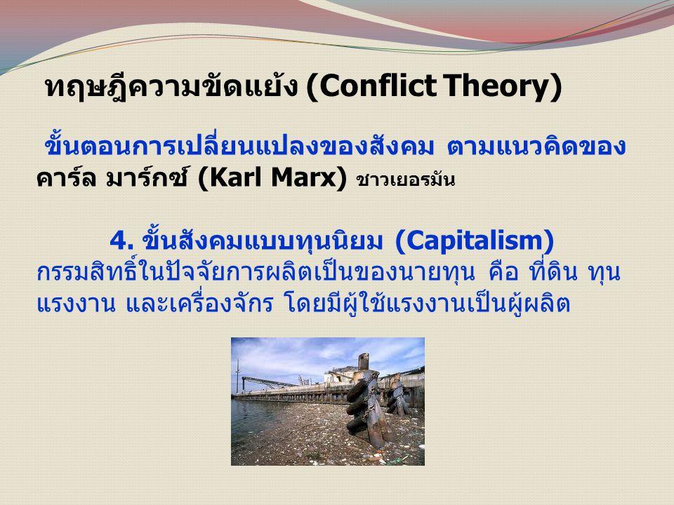 ทฤษฎีความขัดแย้ง (Conflict Theory) ขั้นตอนการเปลี่ยนแปลงของสังคม ตามแนวคิดของ คาร์ล มาร์กซ์ (Karl Marx) ชาวเยอรมัน 4.