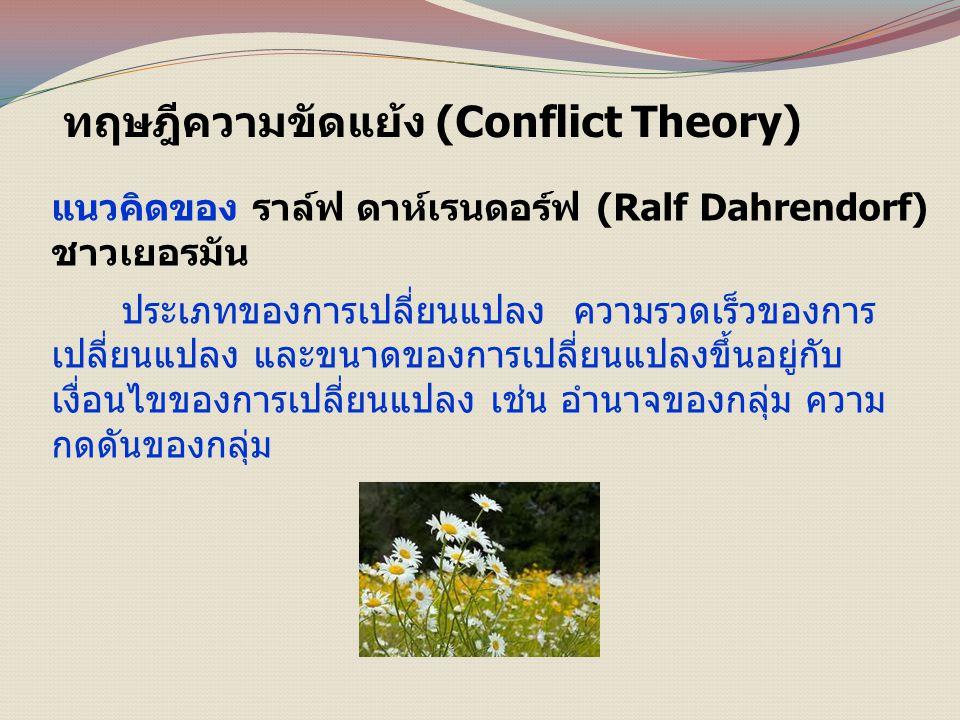 ทฤษฎีความขัดแย้ง (Conflict Theory) แนวคิดของ ราล์ฟ ดาห์เรนดอร์ฟ (Ralf Dahrendorf) ชาวเยอรมัน ประเภทของการเปลี่ยนแปลง ความรวดเร็วของการ เปลี่ยนแปลง และขนาดของการเปลี่ยนแปลงขึ้นอยู่กับ เงื่อนไขของการเปลี่ยนแปลง เช่น อำนาจของกลุ่ม ความ กดดันของกลุ่ม
