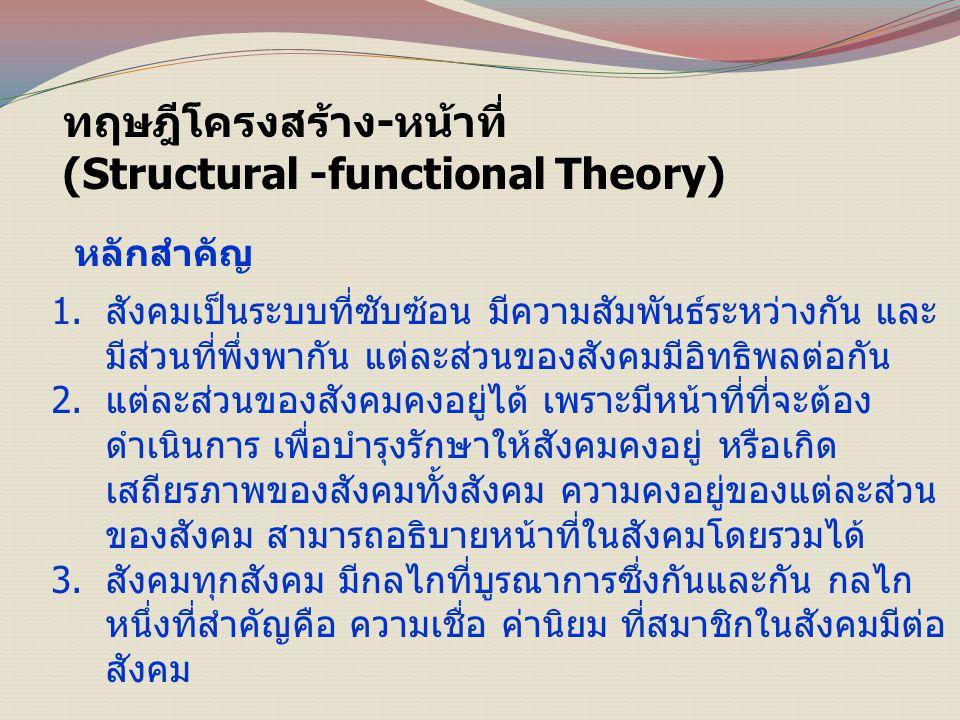 ทฤษฎีโครงสร้าง-หน้าที่ (Structural -functional Theory) หลักสำคัญ 1.สังคมเป็นระบบที่ซับซ้อน มีความสัมพันธ์ระหว่างกัน และ มีส่วนที่พึ่งพากัน แต่ละส่วนของสังคมมีอิทธิพลต่อกัน 2.แต่ละส่วนของสังคมคงอยู่ได้ เพราะมีหน้าที่ที่จะต้อง ดำเนินการ เพื่อบำรุงรักษาให้สังคมคงอยู่ หรือเกิด เสถียรภาพของสังคมทั้งสังคม ความคงอยู่ของแต่ละส่วน ของสังคม สามารถอธิบายหน้าที่ในสังคมโดยรวมได้ 3.สังคมทุกสังคม มีกลไกที่บูรณาการซึ่งกันและกัน กลไก หนึ่งที่สำคัญคือ ความเชื่อ ค่านิยม ที่สมาชิกในสังคมมีต่อ สังคม