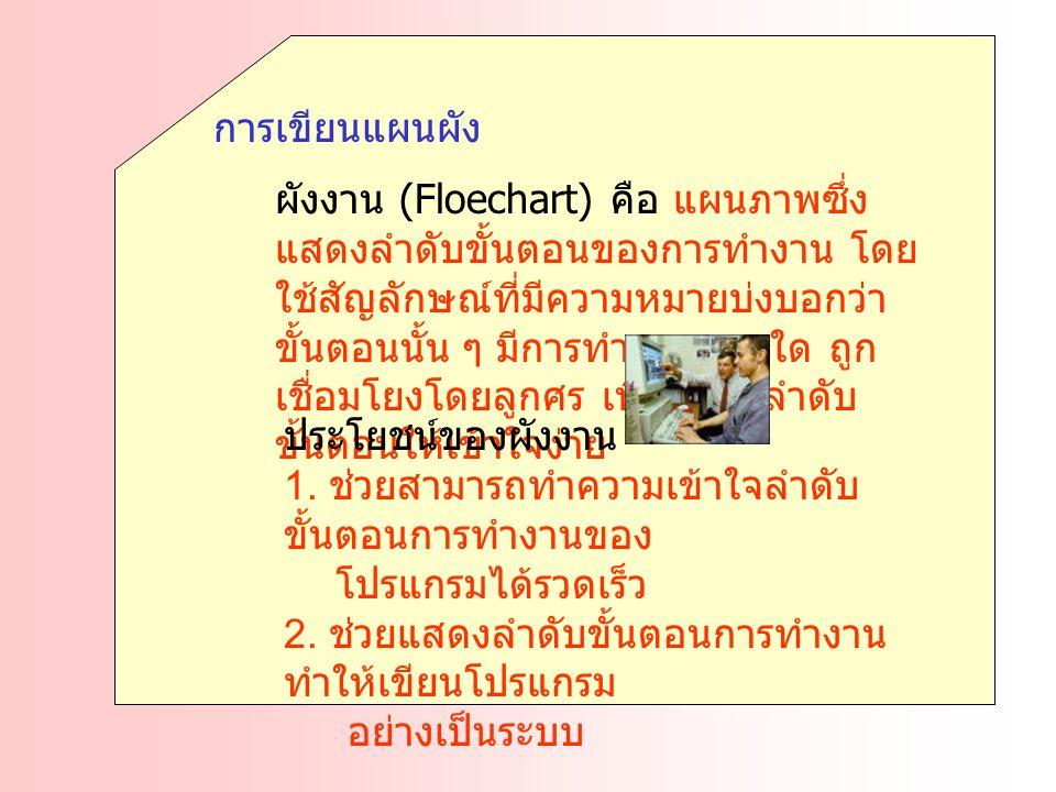 การเขียนแผนผัง ผังงาน (Floechart) คือ แผนภาพซึ่ง แสดงลำดับขั้นตอนของการทำงาน โดย ใช้สัญลักษณ์ที่มีความหมายบ่งบอกว่า ขั้นตอนนั้น ๆ มีการทำงานแบบใด ถูก