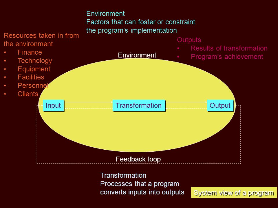 Environment Input Transformation Output Resources taken in from the environment •Finance •Technology •Equipment •Facilities •Personnel •Clients Outputs •Results of transformation •Program's achievement Transformation Processes that a program converts inputs into outputs System view of a program Environment Factors that can foster or constraint the program's implementation Feedback loop