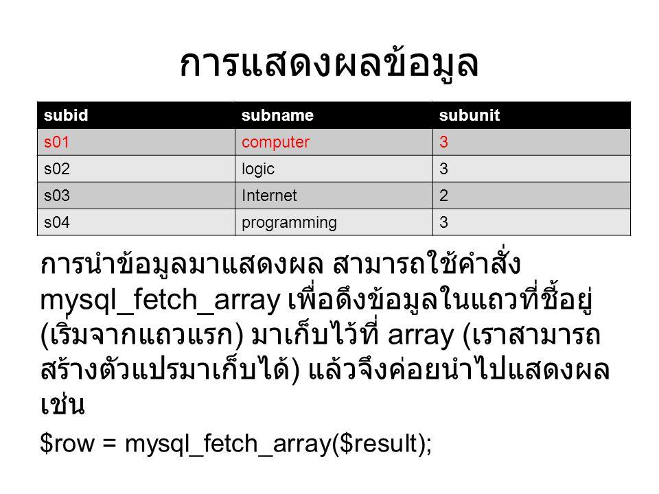 การแสดงผลข้อมูล การนำข้อมูลมาแสดงผล สามารถใช้คำสั่ง mysql_fetch_array เพื่อดึงข้อมูลในแถวที่ชี้อยู่ ( เริ่มจากแถวแรก ) มาเก็บไว้ที่ array ( เราสามารถ สร้างตัวแปรมาเก็บได้ ) แล้วจึงค่อยนำไปแสดงผล เช่น $row = mysql_fetch_array($result); subidsubnamesubunit s01computer3 s02logic3 s03Internet2 s04programming3