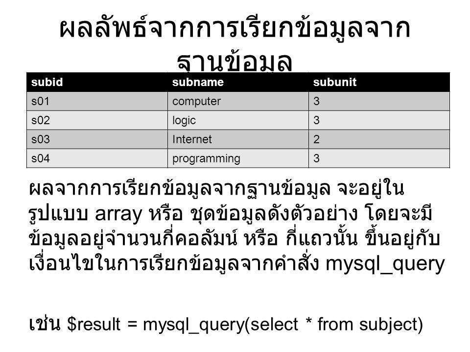 การนับจำนวนแถว หลังจากที่เราได้ผลจากการเรียกข้อมูลมาจาก ฐานข้อมูลนั้น หากเราอยากรู้ว่าข้อมูลที่เราเรียกมา นั้น มีจำนวนกี่แถว เราสามารถใช้คำสั่ง mysql_num_rows ได้ เช่น $numrows = mysql_num_rows($result); echo $rows; // แสดงผลลัพธ์ จากการนับจำนวนแถว subidsubnamesubunit s01computer3 s02logic3 s03Internet2 s04programming3