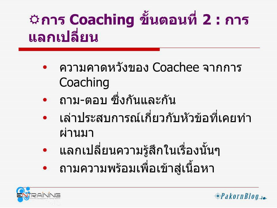  การ Coaching ขั้นตอนที่ 3 : เข้าสู่ เนื้อหา  อธิบายความหมายของหัวข้อ  เล่าเรื่อง / ยกตัวอย่างประกอบ  ถามคำถามที่กระตุ้นให้ Coachee แลกเปลี่ยน  พยายามให้ Coachee สื่อความคิดเห็น ให้มาก  บันทึกสิ่งที่ Coachee ได้เรียนรู้  บันทึกเป้าหมายที่ Coachee จะนำไป ปฏิบัติ