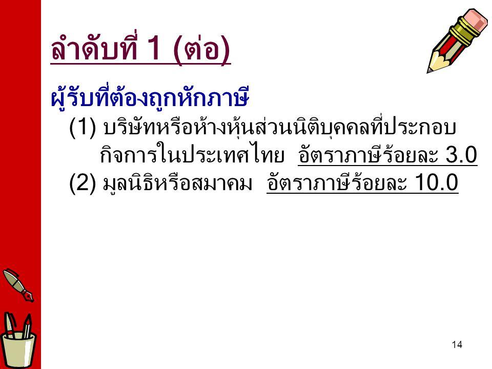 14 ผู้รับที่ต้องถูกหักภาษี (1) บริษัทหรือห้างหุ้นส่วนนิติบุคคลที่ประกอบ กิจการในประเทศไทย อัตราภาษีร้อยละ 3.0 (2) มูลนิธิหรือสมาคม อัตราภาษีร้อยละ 10.0 ลำดับที่ 1 (ต่อ)