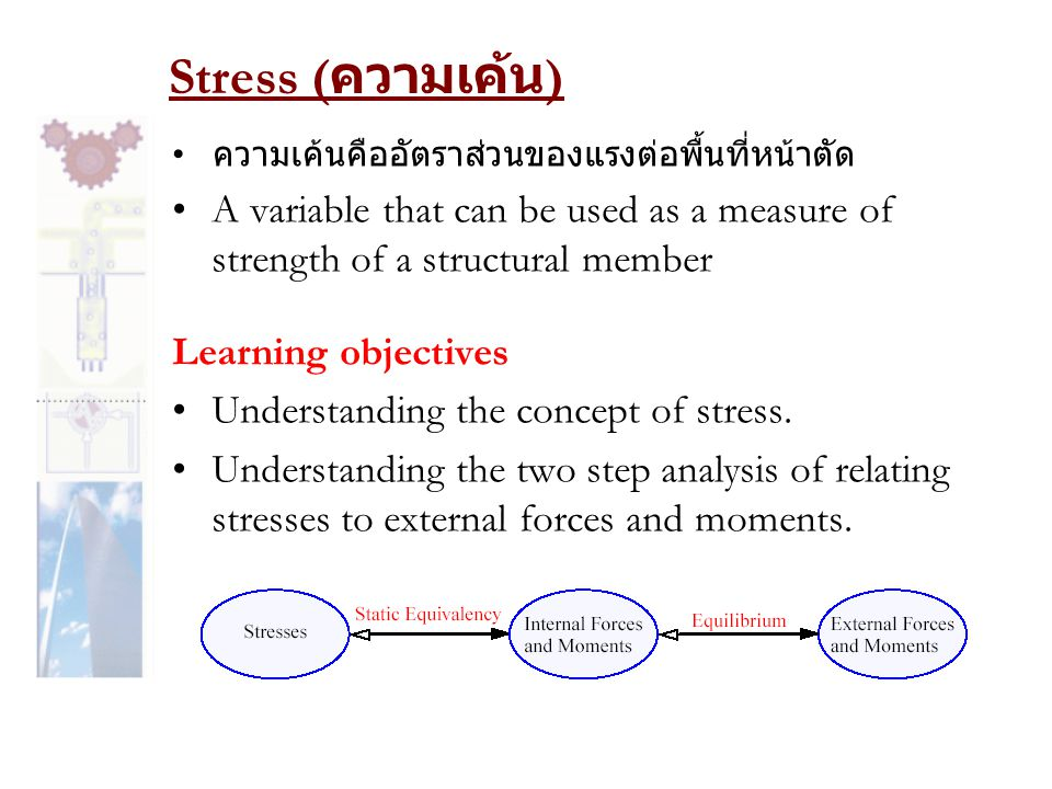 Stress ( ความเค้น ) •A variable that can be used as a measure of strength of a structural member Learning objectives •Understanding the concept of str