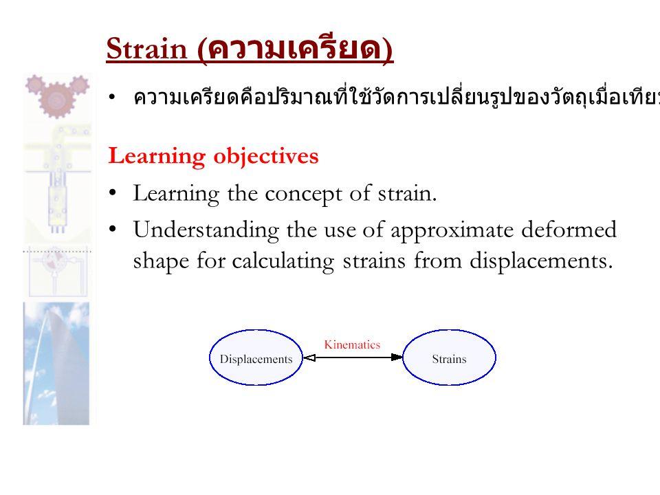 Strain ( ความเครียด ) Learning objectives •Learning the concept of strain.
