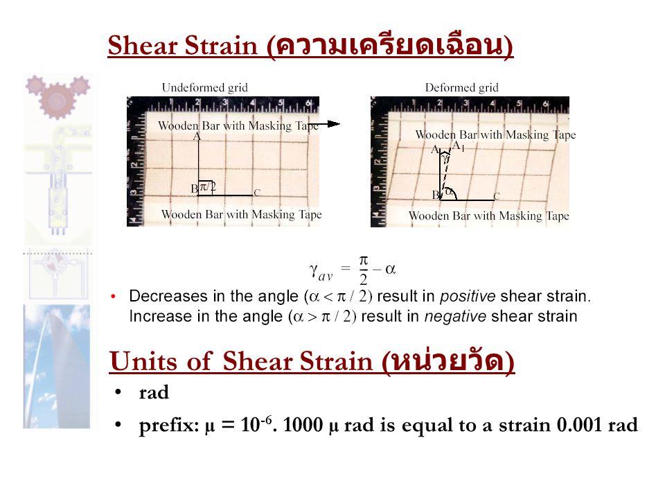 Shear Strain ( ความเครียดเฉือน ) Units of Shear Strain ( หน่วยวัด ) •rad •prefix: µ = 10 -6. 1000 µ rad is equal to a strain 0.001 rad