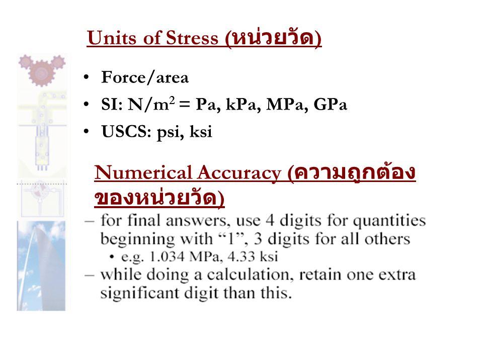 Shear Stress ( ความเค้นเฉือน ) • ความเค้นที่มีทิศทางขนานไปกับหน้าตัด V V ค่าความเค้นเฉือนเฉลี่ย กรณีที่แรงที่กระทำเป็นแรงในแนวเดียว และแรงนั้นจะกระจายไปเท่าๆกันตลอดพื้นที่หน้าตัด และที่สำคัญก็ คือคำว่าขนานไปกับหน้าตัด