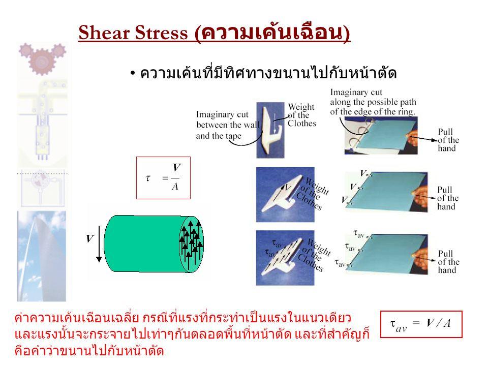 Shear Stress ( ความเค้นเฉือน ) • ความเค้นที่มีทิศทางขนานไปกับหน้าตัด V V ค่าความเค้นเฉือนเฉลี่ย กรณีที่แรงที่กระทำเป็นแรงในแนวเดียว และแรงนั้นจะกระจาย