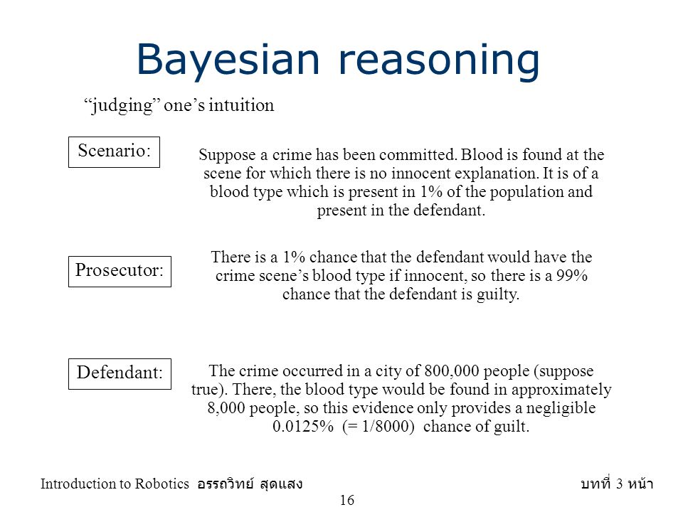 "Bayesian reasoning ""judging"" one's intuition Scenario: Suppose a crime has been committed. Blood is found at the scene for which there is no innocent"