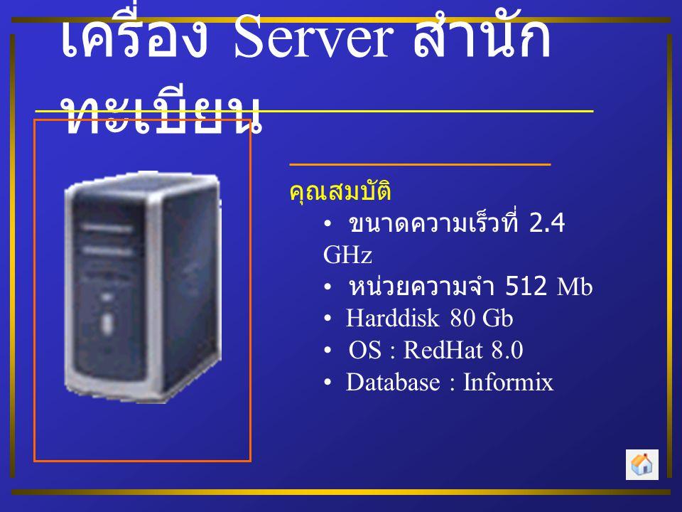 เครื่อง Server สำนัก ทะเบียน คุณสมบัติ • ขนาดความเร็วที่ 2.4 GHz • หน่วยความจำ 512 Mb • Harddisk 80 Gb • OS : RedHat 8.0 • Database : Informix