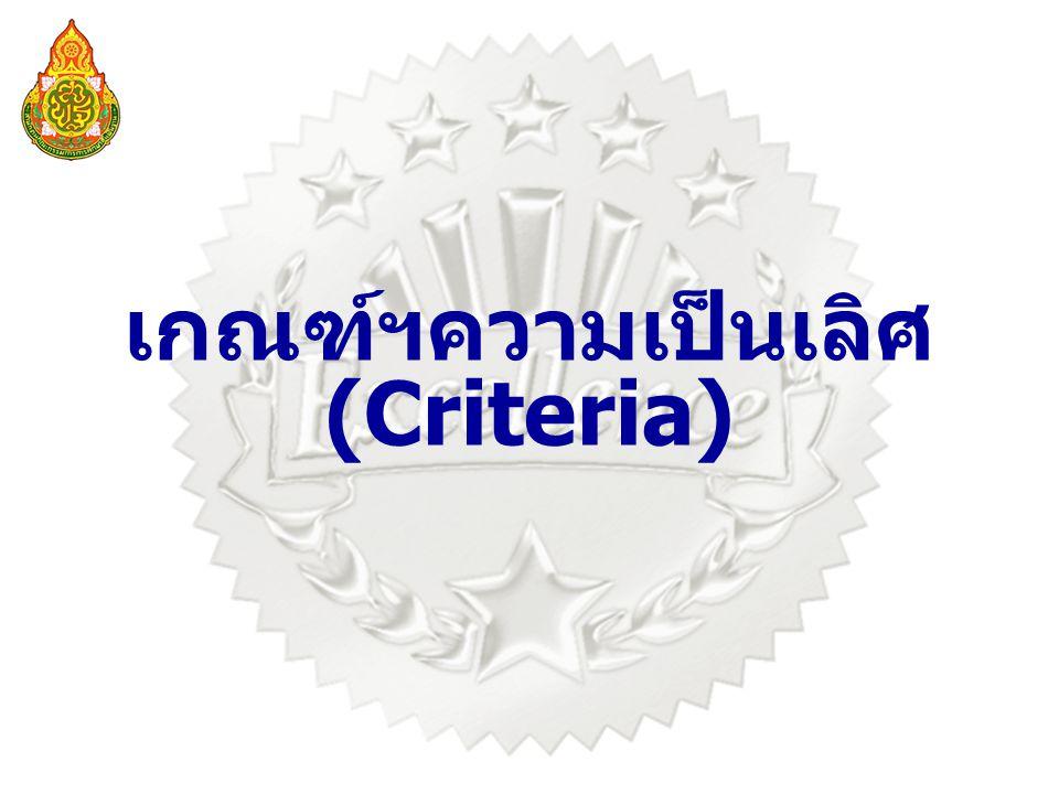 เกณฑ์ฯความเป็นเลิศ (Criteria)