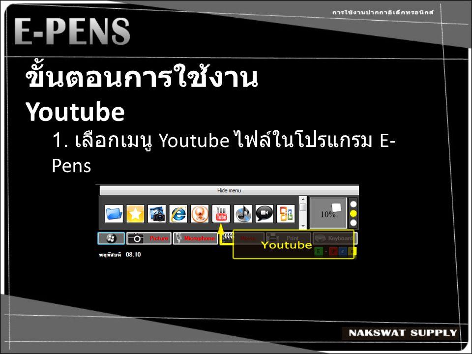 ขั้นตอนการใช้งาน Youtube 1. เลือกเมนู Youtube ไฟล์ในโปรแกรม E- Pens