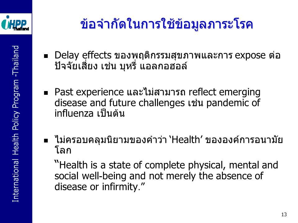 International Health Policy Program -Thailand 13 ข้อจำกัดในการใช้ข้อมูลภาระโรค  Delay effects ของพฤติกรรมสุขภาพและการ expose ต่อ ปัจจัยเสี่ยง เช่น บุ