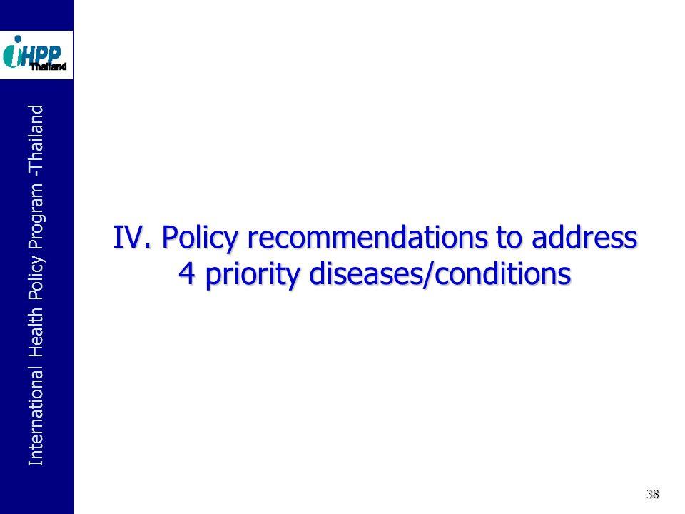 International Health Policy Program -Thailand 38 IV.