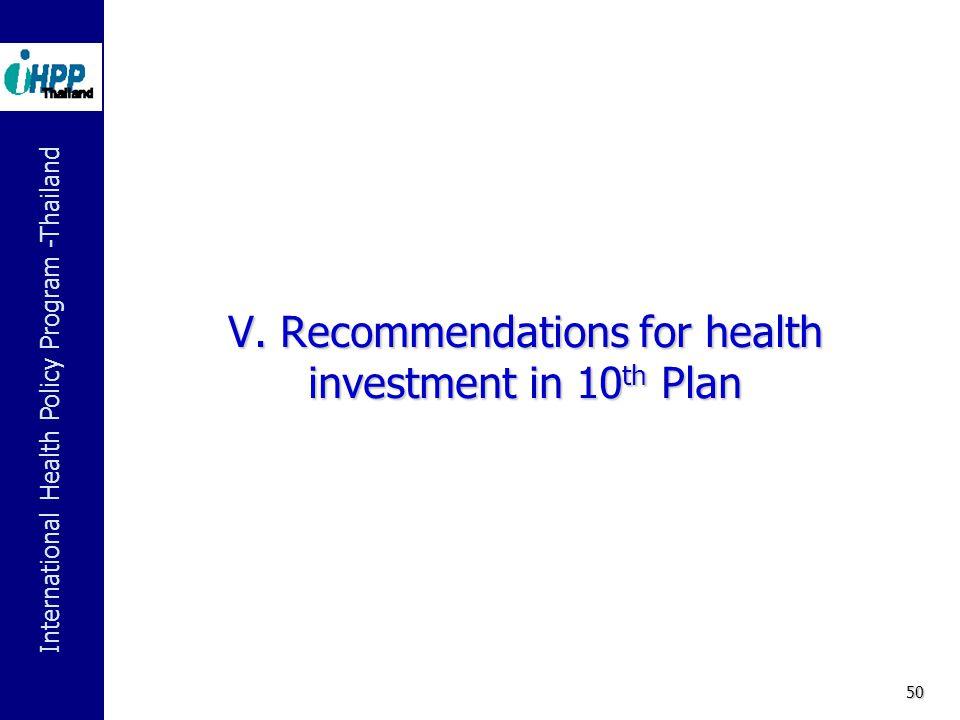 International Health Policy Program -Thailand 50 V.