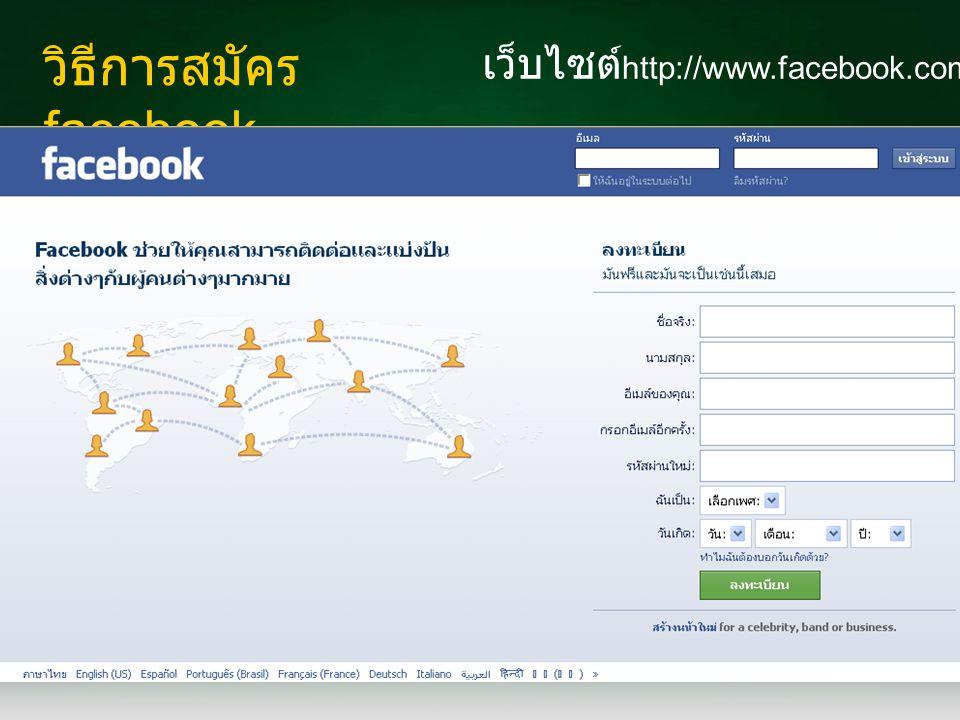 วิธีการสมัคร facebook เว็บไซต์ http://www.facebook.com