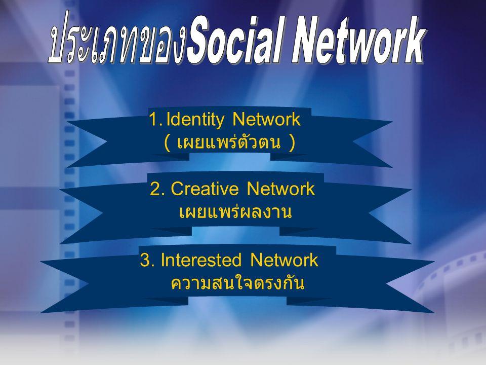 1.Identity Network ( เผยแพร่ตัวตน ) 2. Creative Network เผยแพร่ผลงาน 3. Interested Network ความสนใจตรงกัน