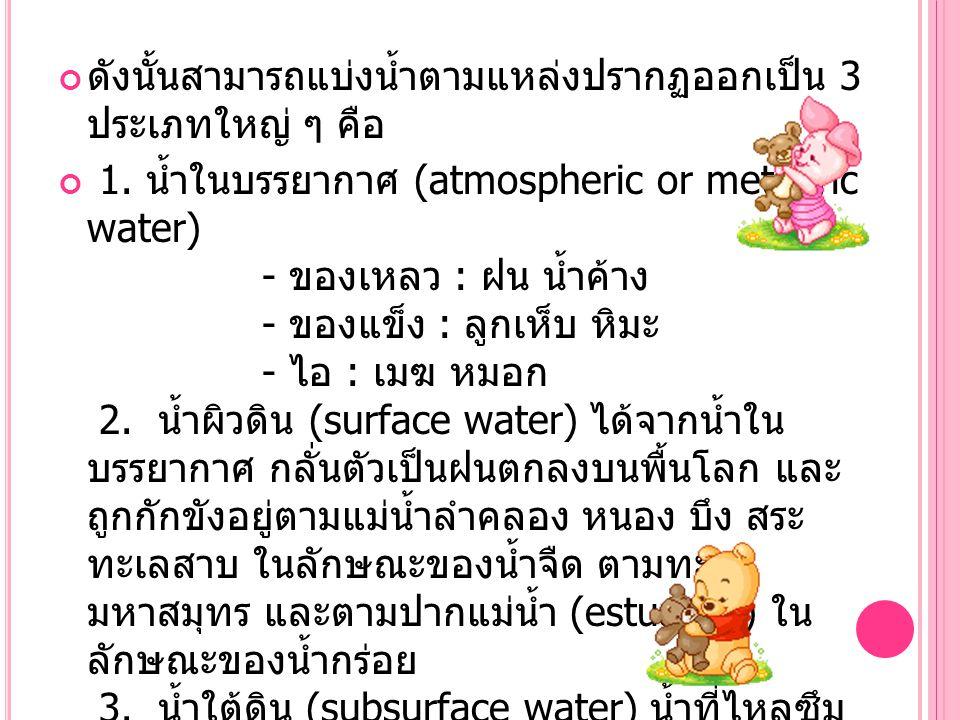ดังนั้นสามารถแบ่งน้ำตามแหล่งปรากฏออกเป็น 3 ประเภทใหญ่ ๆ คือ 1. น้ำในบรรยากาศ (atmospheric or meteoric water) - ของเหลว : ฝน น้ำค้าง - ของแข็ง : ลูกเห็