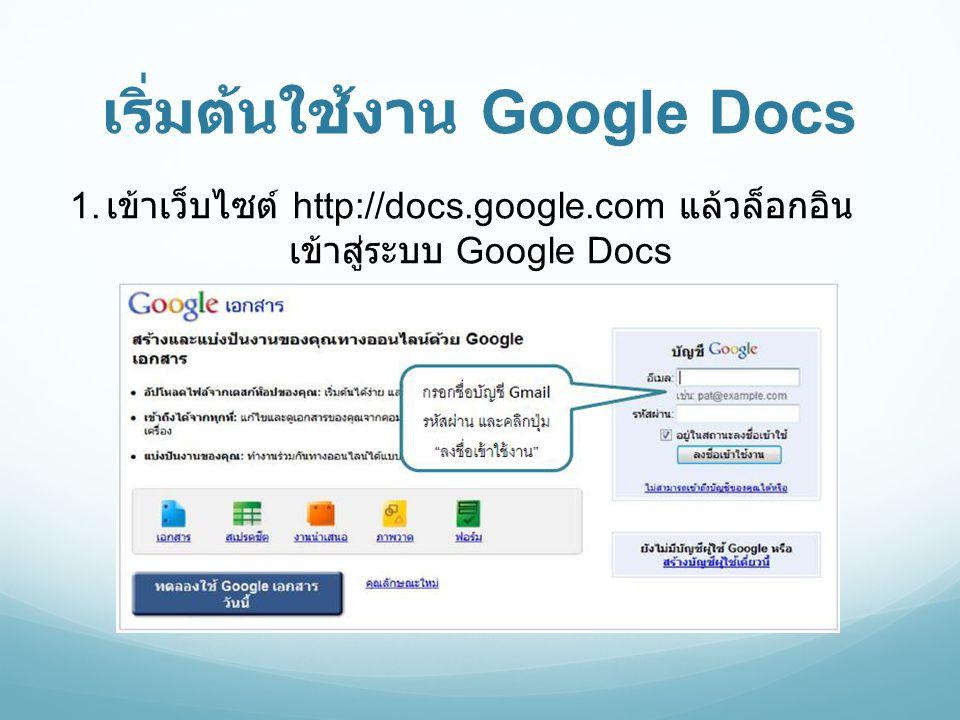 เริ่มต้นใช้งาน Google Docs 1. เข้าเว็บไซต์ http://docs.google.com แล้วล็อกอิน เข้าสู่ระบบ Google Docs