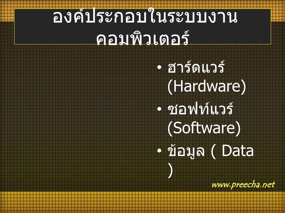 องค์ประกอบในระบบงาน คอมพิวเตอร์ • ฮาร์ดแวร์ (Hardware) • ซอฟท์แวร์ (Software) • ข้อมูล ( Data ) 19