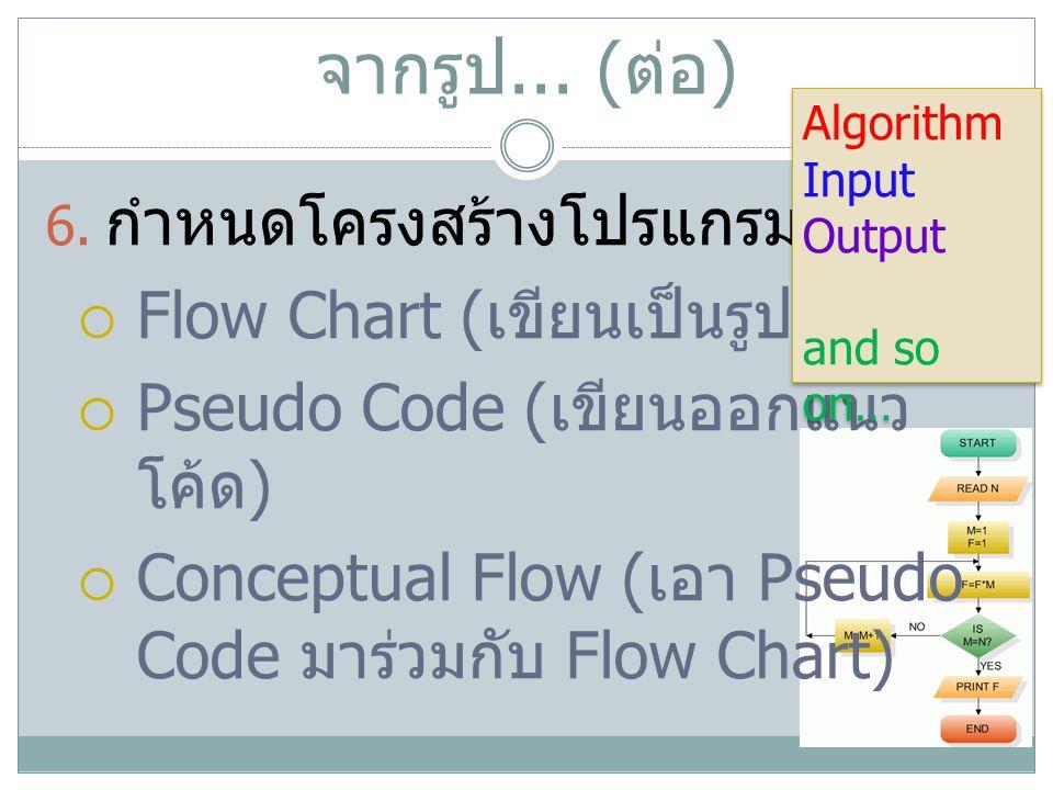 จากรูป... ( ต่อ ) 6. กำหนดโครงสร้างโปรแกรมด้วย...  Flow Chart ( เขียนเป็นรูปกล่องๆ )  Pseudo Code ( เขียนออกแนว โค้ด )  Conceptual Flow ( เอา Pseud