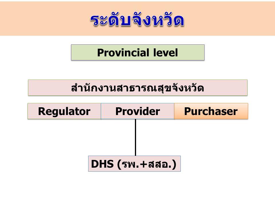 RO กรมวิชาการ ร่วมทีม Regulator ตรวจสอบติดตามประเมินผล Provider Health Board (คปสจ.) Provider Health Board (คปสจ.) อำเภอ DHS คปสอ.