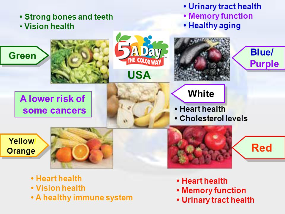 • Heart health • Vision health • A healthy immune system • Heart health • Memory function • Urinary tract health • Strong bones and teeth • Vision health • Heart health • Cholesterol levels • Urinary tract health • Memory function • Healthy aging A lower risk of some cancers USA Green Yellow/ Orange Yellow/ Orange Blue/ Purple Blue/ Purple Red White