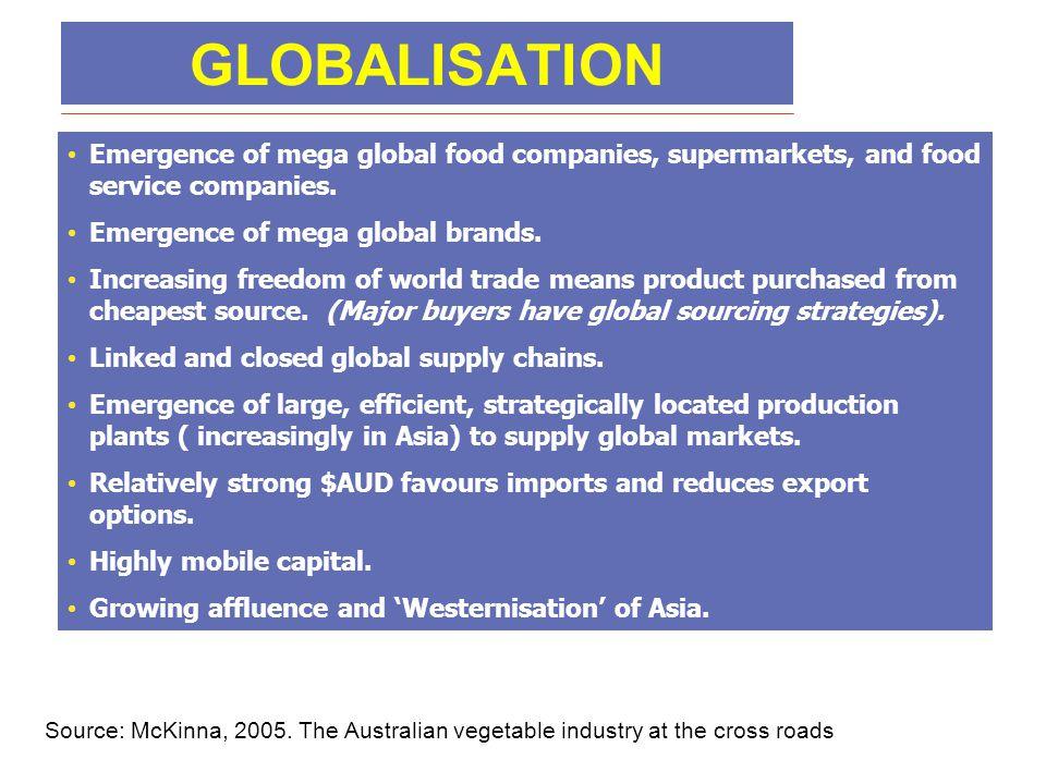 GLOBALISATION • Emergence of mega global food companies, supermarkets, and food service companies. • Emergence of mega global brands. • Increasing fre