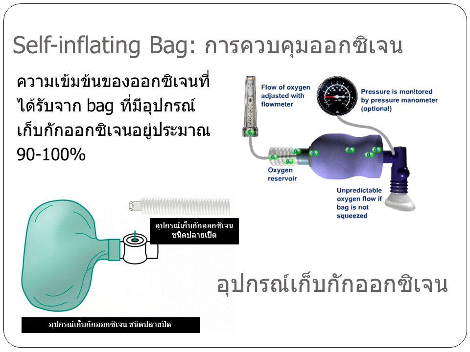 ความเข้มข้นของออกซิเจนที่ ได้รับจาก bag ที่มีอุปกรณ์ เก็บกักออกซิเจนอยู่ประมาณ 90-100% Self-inflating Bag: การควบคุมออกซิเจน อุปกรณ์เก็บกักออกซิเจน ชน